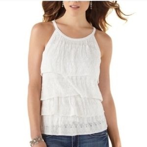 WHBM Flowy layered lace tank top Size Med